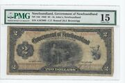 1920 Newfoundland Nf-13d 2 Note Sn A167900 Pmg Graded F-15