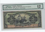 1922 Canadian Bank Of Commerce 5 / Barbados Cat752004 Sn12364 Pmg F-12