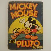 Mickey Mouse And Pluto The Pup 1936 Antique Book Walt Disney