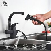 2020 Black Kitchen Faucets Dual Spout Pull Out Kitchen Tap With Spray Water Taps
