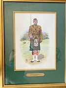 Gold Framed Watercolor Painting Scot Highlander Soldier By Alix Baker/scotland