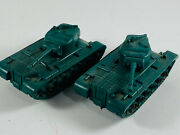 Pair X2 Vintage Rubber Army Military Auburn Toy Cars Truck