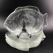 Vintage Set Of 6 Clear Pressed Glass Fish Shaped Dinner Plates 11 X 8andldquo Nautical