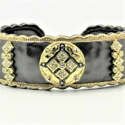 Medallion Cuff Bracelet By Italian Ice Co. With Gold Highlights And Cz Sparkle