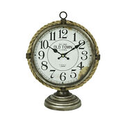 New Old Town Clocks London Metal Distressed Table Rope Trim Battery Operated