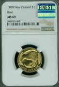 1999 New Zealand Small 1 Ngc Ms-69 Mac Finest Grade Spotless 5000 Minted
