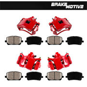 For Left And Right Front And Rear Red Powdercoated Calipers Ceramic Brake Pads