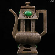6.4collection China Old Antique Pure Copper Inlaid With Gems Tin Carbon Pot