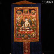 Tibet Jokhang Temple Old Antique Mineral Pigment Hand Painted White Tara Thangka
