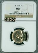1970-s Jefferson Nickel Ngc Mac Ms64 4fs Rare