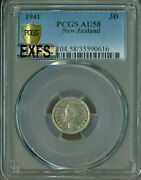 1941 New Zealand Three Pence Pcgs Mac Au-58 Exfs Exceptional Full Strike