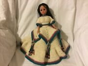 Vintage Indian Native American Princess Doll With Crocheted Ornate Dress Toys