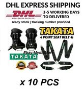Takata Black 4 Point Snap-on 3 With Camlock Racing Seat Belt Harness X 10