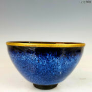 Old Antique China Song Dynasty Building Kiln Change Blue Background Tianmu Cup