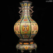 18rare Old China Qing Dynasty Antique Handmade Inlaid With Gems Cloisonne Vase