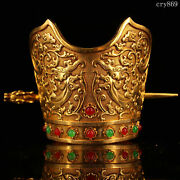 Rare China Old Antique Pure Copper Carving Inlaid With Gems Gilding Official Hat