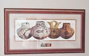 Michael C. Mccullough Soutwestern Indian Pots Painting. Signed And Frame