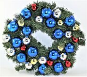 Christmas Bulb And Garland Wreath Blue Red Gold And Silver Plastic Ornaments