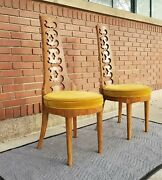 Pair 1968 Thomasville Burl Dining/side Chair-cut Out Back-hollywood Regency-mcm