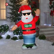 6ft Airblown-swaying Santa W/headphones Animated Outdoor Christmas Decorations
