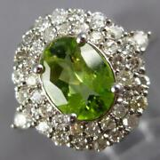 Large 2.16ct Diamond And Aaa Peridot 14kt White Gold Oval And Round Double Halo Ring