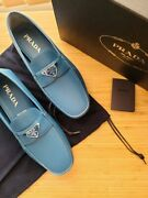 Nwb Prada Mens Leather Shoes Loafers Sneakers Us Size 8/8.5 Blue