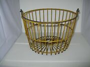 Antique Vintage Farmhouse Yellow Coated Metal Wire Gathering Egg Basket Large B