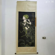 China Zhang Daqian Hand Painted Flying Fairy Beauty Picture Scroll