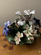 Capodimonte Flowers Vintage With Markings On The Bottom Base.
