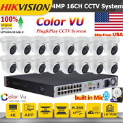 Hikvision Color Vu Built In Mic Full Color 4mp 16ch 16poe Cctv System P2p Ir Lot