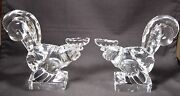 Rare Pair Art Deco Steuben Glass Roosters 7847 By Frederick Carder Circa 1925