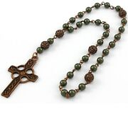 Anglican Prayer Beads / Rosary Pearls And Celtic Cross, Antique Copper, Protestant