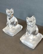 Pair Clear Lead Crystal Cat On Frosted Pillow Figurines Cat Lover Gift 5 Tall