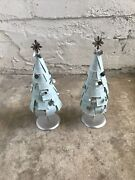 Extremely Rare 2007 Starbucks Powder Blue 19andrdquo Tall Trees Store Display Set Of 2