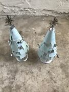 Extremely Rare 2007 Starbucks Powder Blue 15andrdquo Tall Store Display Set Of 2