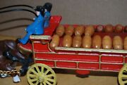 Vintage Cast Iron 6 Horse Drawn Beer Wagon With 26 Barrels, And 2 Drivers