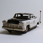 Used Japanese Vintage Tin 1950s Marusan Police Car With Outer Box Made In Japan