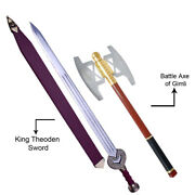 Lord Of The Rings King Theoden Sword Replica And Gimli Axe Golden Functional Pair.