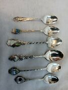 Lot Of 6 Sterling Silver Souvenir Collector Spoons 50.76 Grams, 4