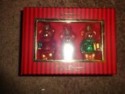 Set Of 3 Waterford Holiday Heirlooms Teddy Bears Christmas Ornaments