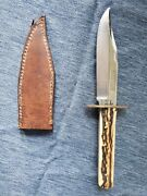 Vintage G Wostenholm And Son Bowie Hunting Knife Ixlsheffield England W/ Sheath