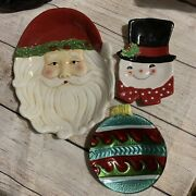 Lot Of 3 Santa Claus Snowman Bell Ceramic Candy Cookie Platter Christmas Decor