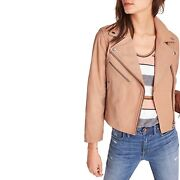 Madewell 498 Crop Leather Moto Draped Biker Jacket Cropped Pale Cement Medium