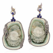 Natural Sapphire Diamond Gemstone 925 Sterling Silver Womens Earring Jewelry