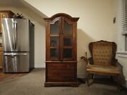 3 Dark Stained Wood Lr/dr Furniture - 1 Entertainment Center + 2 Glass Armoires