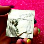Tour De France With Nude Goddess Cycling Silver Pl Bronze Art Deco Medal A.mery