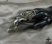 Large Vintage Sterling Silver Articulated Full Finger Armor Claw
