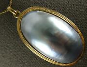 Extra Large Aaa Light Grey Tahitian Pearl 14kt Yellow Gold Oval Pendant 27162
