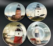 Set Of 4 David Carter Brown And039by The Seaand039 8 Salad Bread Lighthouse Plates Sailor