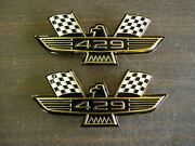 Ford 429 Crossed Flag Fender Emblems Gold Mustang Fairlane Galaxie Falcon 1969 +